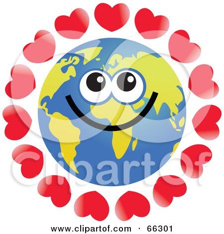 Royalty-Free (RF) Clipart Illustration of a Global Face Character With Hearts by Prawny