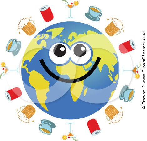 Royalty-Free (RF) Clipart Illustration of a Global Face Character With Cocktails, Coffee, Beer And Soda by Prawny