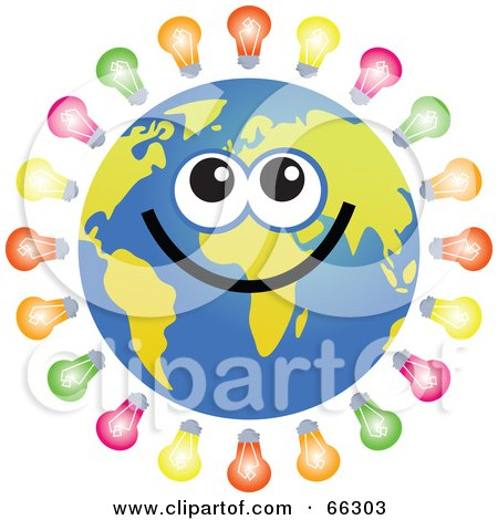 Royalty-Free (RF) Clipart Illustration of a Global Face Character With Light Bulbs by Prawny