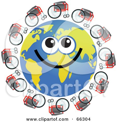 Royalty-Free (RF) Clipart Illustration of a Global Face Character With Wheelchairs by Prawny
