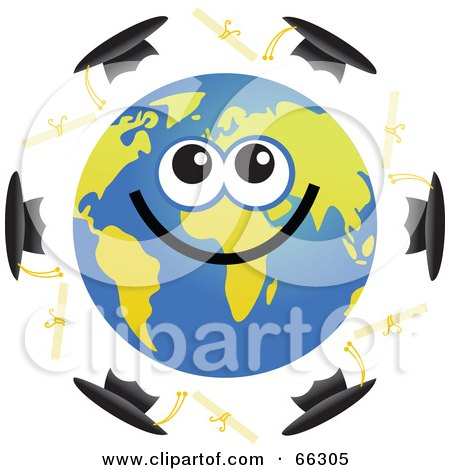 Royalty-Free (RF) Clipart Illustration of a Global Face Character With Diplomas and Caps by Prawny