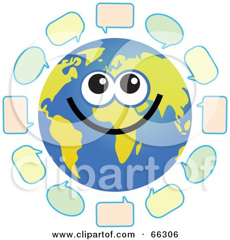 Royalty-Free (RF) Clipart Illustration of a Global Face Character With Text Bubbles by Prawny