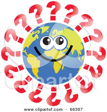 Royalty-Free (RF) Clipart Illustration of a Global Face Character With Question Marks by Prawny