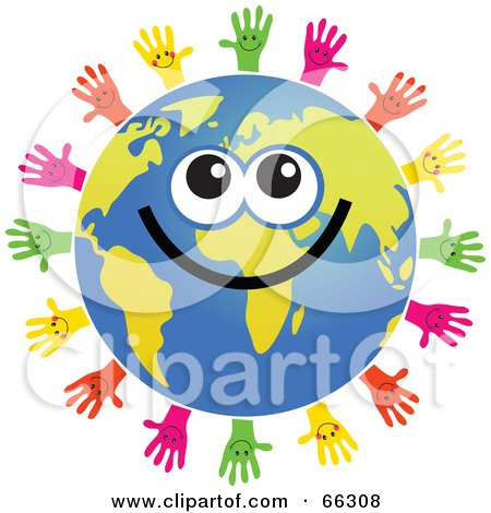 Royalty-Free (RF) Clipart Illustration of a Global Face Character With Hands by Prawny