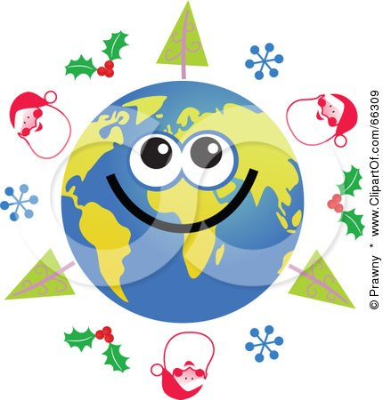 Royalty-Free (RF) Clipart Illustration of a Global Face Character With Christmas Symbols by Prawny