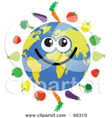 Royalty-Free (RF) Clipart Illustration of a Global Face Character With Fruits and Veggies by Prawny
