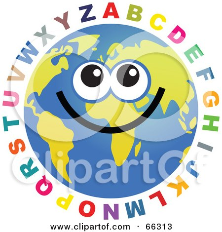 Royalty-Free (RF) Clipart Illustration of a Global Face Character With The Alphabet by Prawny