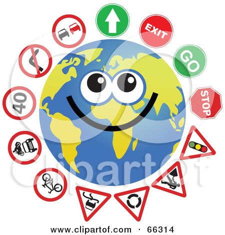 Royalty-Free (RF) Clipart Illustration of a Global Face Character With Signs; Arrow, Exit, Go, Stop, Traffic Signal, Road Work, Etc by Prawny