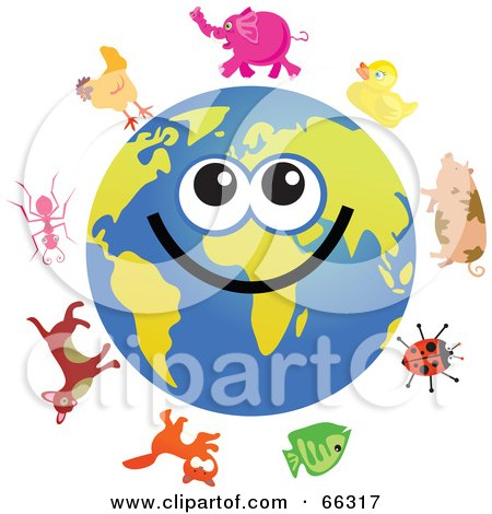 Royalty-Free (RF) Clipart Illustration of a Global Face Character With Animals by Prawny