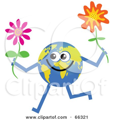 Royalty-Free (RF) Clipart Illustration of a Global Character Holding Flowers by Prawny