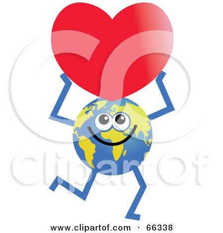 Royalty-Free (RF) Clipart Illustration of a Global Character Holding a Heart by Prawny