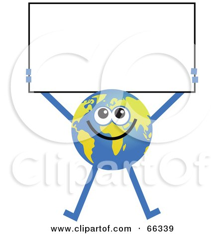 Royalty-Free (RF) Clipart Illustration of a Global Character Holding a Blank Sign by Prawny