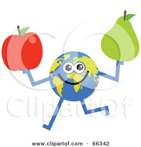 Royalty-Free (RF) Clipart Illustration of a Global Character Holding a Red Apple and Pear by Prawny