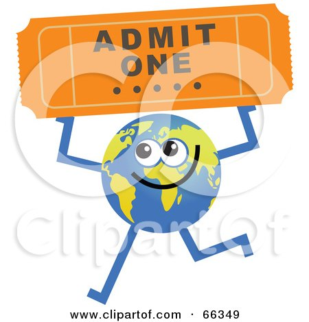 Royalty-Free (RF) Clipart Illustration of a Global Character Holding a Ticket by Prawny