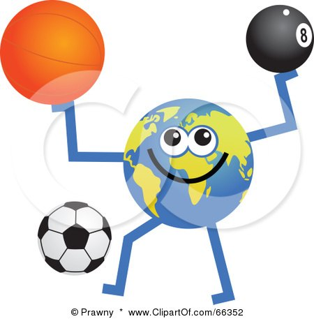 Royalty-Free (RF) Clipart Illustration of a Global Character Holding And Kicking A Basketball, Eight Ball And Soccer Ball by Prawny
