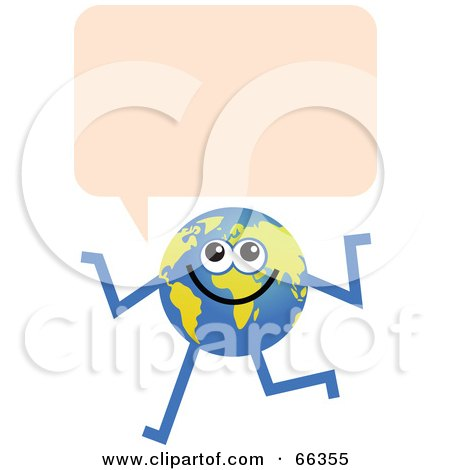 Royalty-Free (RF) Clipart Illustration of a Global Character With A Text Bubble by Prawny