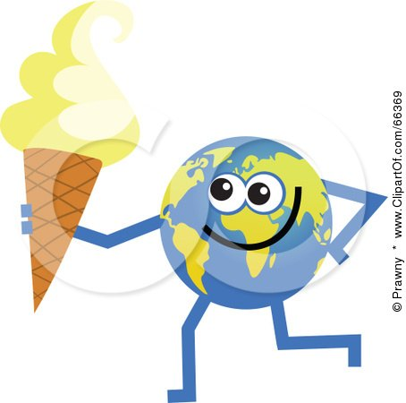 Royalty-Free (RF) Clipart Illustration of a Global Character Holding an Ice Cream Cone by Prawny