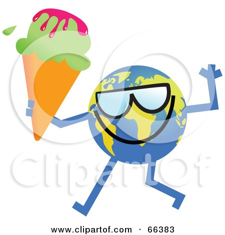 Royalty-Free (RF) Clipart Illustration of a Global Character Holding a Waffle Cone by Prawny