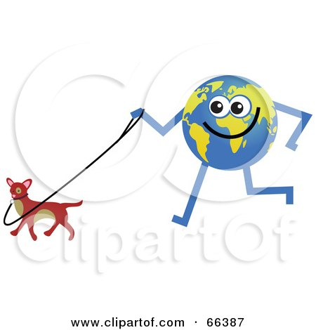 Royalty-Free (RF) Clipart Illustration of a Global Character Walking a Dog by Prawny