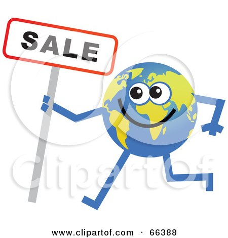 Royalty-Free (RF) Clipart Illustration of a Global Character Holding a Sale Sign by Prawny