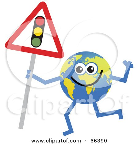Royalty-Free (RF) Clipart Illustration of a Global Character Holding a Traffic Light Sign by Prawny