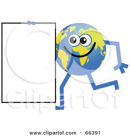 Royalty-Free (RF) Clipart Illustration of a Global Character Carrying a Blank Sign by Prawny