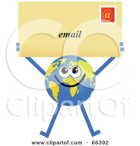 Royalty-Free (RF) Clipart Illustration of a Global Character Holding an Email Envelope by Prawny