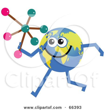 Royalty-Free (RF) Clipart Illustration of a Global Character Holding a Molecule by Prawny