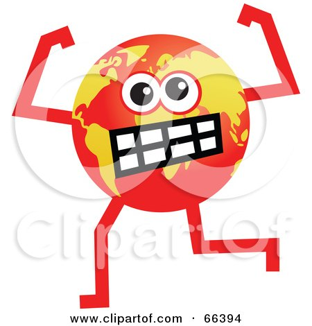 Royalty-Free (RF) Clipart Illustration of a Global Character Turning Red With Anger by Prawny