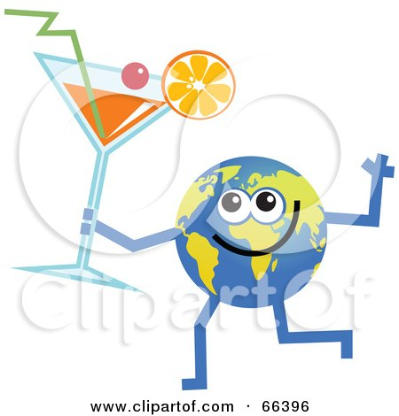 Royalty-Free (RF) Clipart Illustration of a Global Character Holding a Cocktail by Prawny