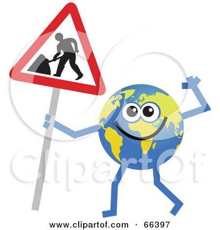 Royalty-Free (RF) Clipart Illustration of a Global Character Holding a Maintenance Sign by Prawny
