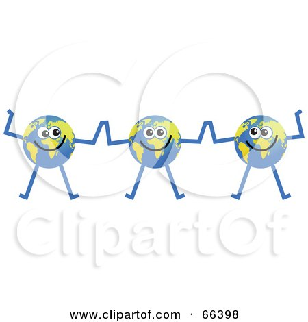 Royalty-Free (RF) Clipart Illustration of a Global Character Team of Three by Prawny