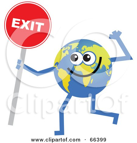 Royalty-Free (RF) Clipart Illustration of a Global Character Holding an Exit Sign by Prawny