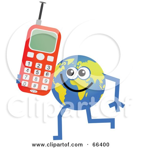 Royalty-Free (RF) Clipart Illustration of a Global Character Holding a Cell Phone by Prawny