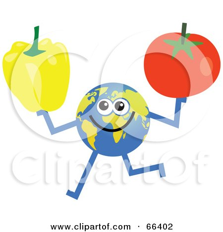 Royalty-Free (RF) Clipart Illustration of a Global Character Holding a Bell Pepper and Tomato by Prawny