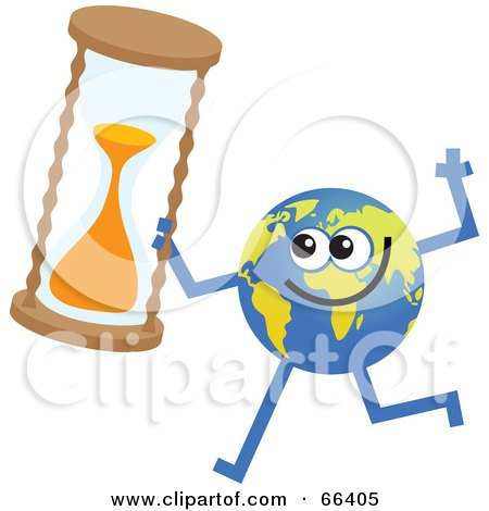 Royalty-Free (RF) Clipart Illustration of a Global Character Holding an Hour Glass by Prawny