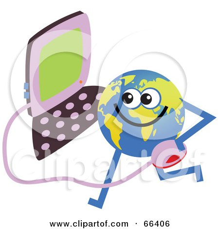 Royalty-Free (RF) Clipart Illustration of a Global Character Holding a Computer by Prawny