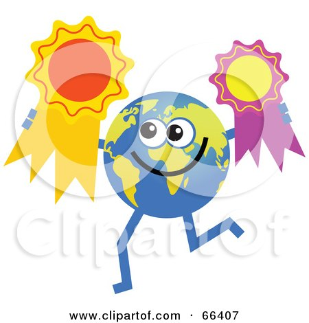 Royalty-Free (RF) Clipart Illustration of a Global Character Holding Award Ribbons by Prawny