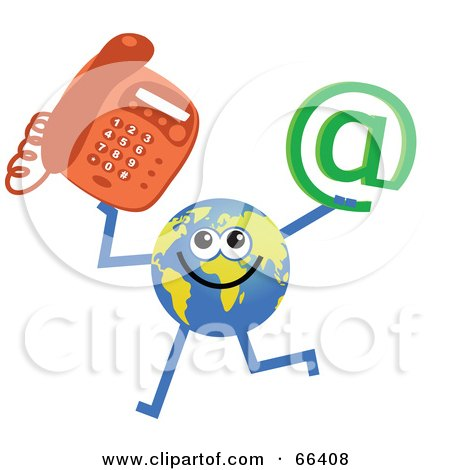 Royalty-Free (RF) Clipart Illustration of a Global Character Holding a Phone And At Symbol by Prawny