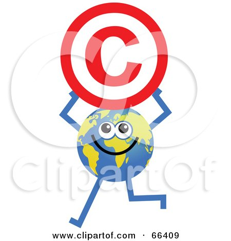 Royalty-Free (RF) Clipart Illustration of a Global Character Holding a Copyright Symbol by Prawny