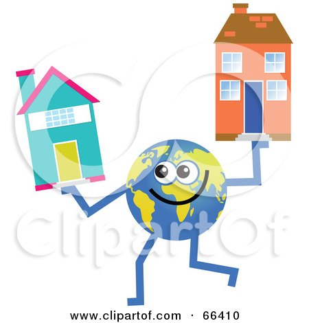 Royalty-Free (RF) Clipart Illustration of a Global Character Holding Houses by Prawny