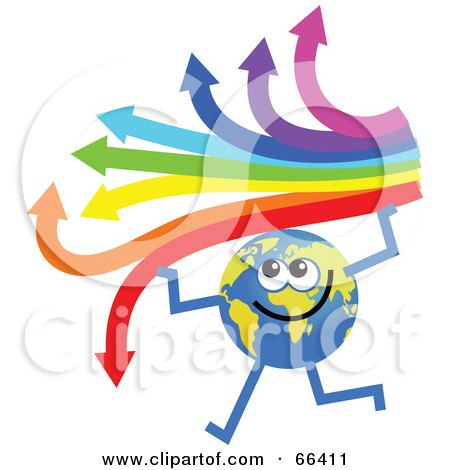 Royalty-Free (RF) Clipart Illustration of a Global Character Holding an Arrow Rainbow by Prawny