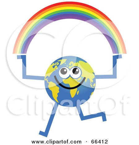 Royalty-Free (RF) Clipart Illustration of a Global Character Holding a Rainbow by Prawny