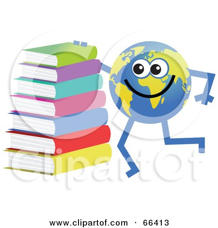Royalty-Free (RF) Clipart Illustration of a Global Character With a Stack of Books by Prawny