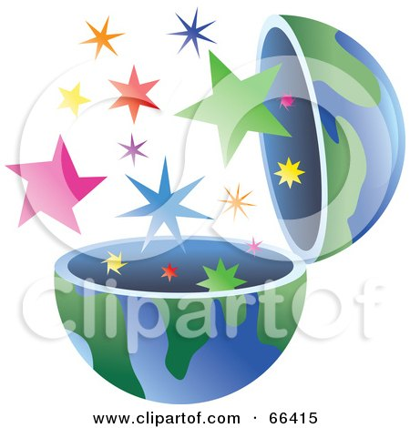 Royalty-Free (RF) Clipart Illustration of an Open Globe With Stars by Prawny