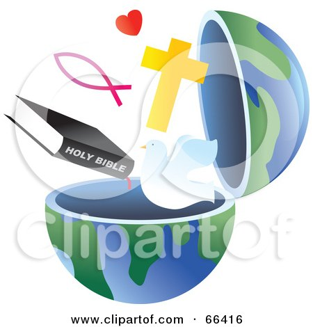 Royalty-Free (RF) Clipart Illustration of an Open Globe With Christian Symbols by Prawny