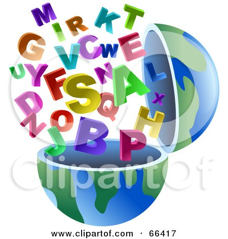 Royalty-Free (RF) Clipart Illustration of an Open Globe With Alphabet Letters by Prawny