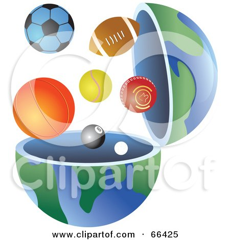 Royalty-Free (RF) Clipart Illustration of an Open Globe With Sports Balls by Prawny