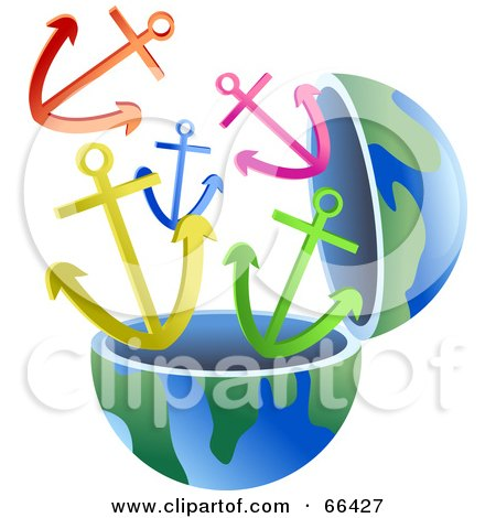 Royalty-Free (RF) Clipart Illustration of an Open Globe With Anchors by Prawny