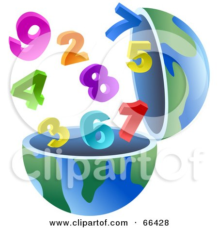 Royalty-Free (RF) Clipart Illustration of an Open Globe With Numbers by Prawny